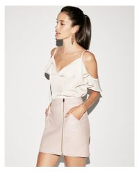 Express - Pink High Waisted Faux Leather Zip Mini Skirt - Lyst