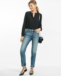 Express - Black Notched Band Collar Blouse - Lyst