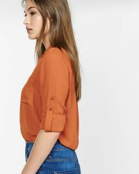 Express - Orange Original Fit Convertible Sleeve Portofino Shirt - Lyst