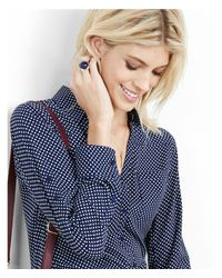 Express - Blue Original Fit Navy And White Dot Portofino Shirt - Lyst