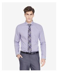 Express - Purple Fitted Micro Check Dress Shirt for Men - Lyst