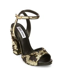 68d4a00b326 Express Steve Madden Ritzy Heeled Sandals in Metallic - Lyst