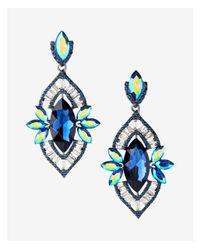 Express - Blue Oblong Teardrop Earrings - Lyst