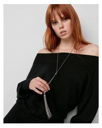 Express - Metallic Double Tassel Lariat Y-neck Necklace - Lyst