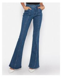 Express - Blue Super High Waisted Seamed Denim Perfect Bell Flare Jeans, Women's Size:8 Short - Lyst