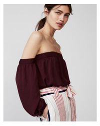 Express Red Satin Off The Shoulder Blouse