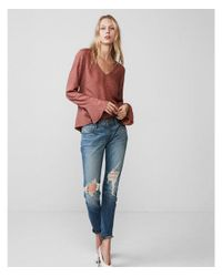 Express - Brown Long Flare Sleeve Blouse - Lyst