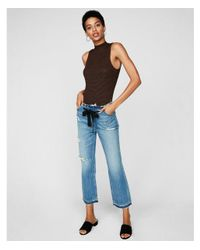 Express - Brown One Eleven Ribbed Mock Neck Thong Bodysuit - Lyst