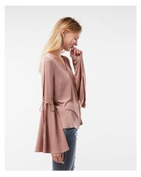 Express - Pink Tie Bell Sleeve Top - Lyst