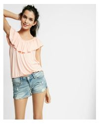 Express - Blue Low Rise Relaxed Destroyed Stretch+ Denim Shorts - Lyst