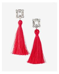 Express - Pink Square Stone Tassel Earrings - Lyst