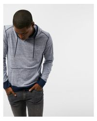 Express | Blue Heathered Long Sleeve Hoodie for Men | Lyst