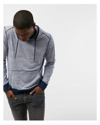 Express - Blue Ig & Tall Heathered Long Sleeve Hoodie for Men - Lyst