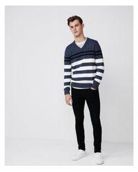 Express - Blue Striped Cotton V-neck Sweater for Men - Lyst