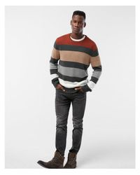 Express | Gray Stripe Color Block Cotton Sweater for Men | Lyst