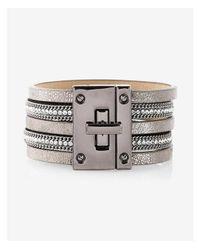 Express - Gray Rhinestone Metallic Turnlock Bracelet - Lyst