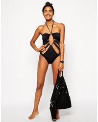 ASOS - Black Keyhole Cut Out Swimsuit - Lyst