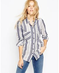 ASOS   Multicolor Blue Stripe Soft Boyfriend Shirt   Lyst
