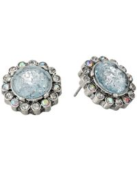 Betsey Johnson | Blue Lady Lock Round Crackle Stud Earrings | Lyst