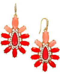 ABS By Allen Schwartz | Red Gold-tone Orange Stone Chandelier Earrings | Lyst