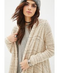 Forever 21 - Natural Asymmetric Open-knit Cardigan - Lyst