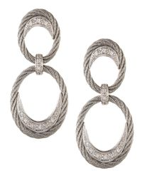 Alor | Metallic Diamond Pave Cable Oval-hoop Earrings | Lyst