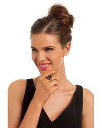 Trina Turk | Metallic Cube Ring W Pave Details | Lyst