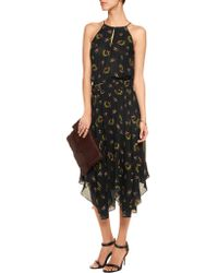 A.L.C. - Black Topper Printed Silk-crepe Midi Dress - Lyst