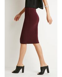 Forever 21 | Red Ribbed Knit Pencil Skirt | Lyst
