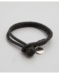 Bottega Veneta - Dark Blue Intrecciato Leather Doubled Bracelet for Men - Lyst