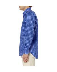 Canali | Blue Polka Dot Print Cotton Blend Shirt for Men | Lyst