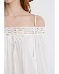 Forever 21 - Natural Crochet-trimmed Open-shoulder Top - Lyst