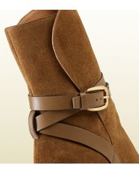 Gucci | Brown Suede Ankle Boot | Lyst