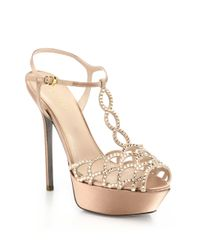 Sergio Rossi - Natural Vague Swarovski Crystal T-strap Sandals - Lyst