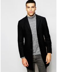 Esprit | Black Wool Overcoat for Men | Lyst