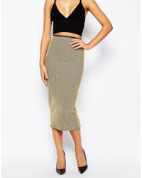 Missguided | Metallic Rib Midi Skirt | Lyst