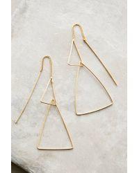 Anthropologie - Metallic Threaded Angle Earrings - Lyst