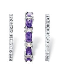 Palmbeach Jewelry - Metallic 3.24 Tcw Cubic Zirconia And Emerald-cut Purple Crystal 3-piece Stackable Ring Set Platinum-plated - Lyst