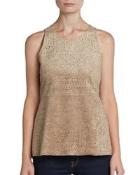 BCBGMAXAZRIA - Natural Faux Suede Eyelet Peplum Top - Lyst
