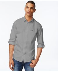 Armani Jeans | Gray Dual-logo Long-sleeve Shirt for Men | Lyst