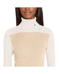Ralph Lauren - Natural Color-blocked Turtleneck - Lyst