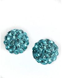 Lord & Taylor - Blue Sterling Silver Crystal-encrusted Ball Stud Earrings - Lyst
