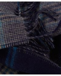 Johnstons - Blue Navy Check Cashmere Scarf for Men - Lyst
