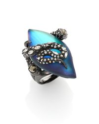 Alexis Bittar - Blue Imperial Noir Lucite & Crystal Lace Snake Marquis Ring - Lyst