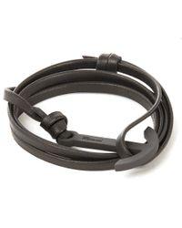 Miansai - Black Modern Anchor Leather Bracelet for Men - Lyst