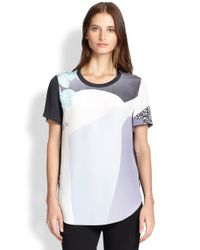 3.1 Phillip Lim - Purple Printed Silk Sheer-Back Tee - Lyst