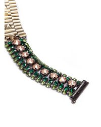Iosselliani | Green Crystal And Stone Chain Bracelet | Lyst