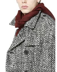 Saint Laurent - Red Houndstooth Wool Scarf for Men - Lyst