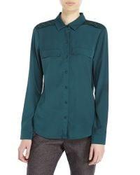 Maison Scotch - Green Embellished Woven Shirt - Lyst