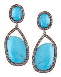 Bavna | Blue Asymmetric Turquoise Drop Earrings | Lyst